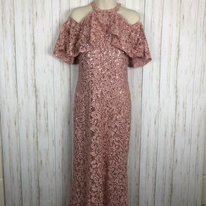 Marina Sequin Embellished Lace Gown Pink Blush 6